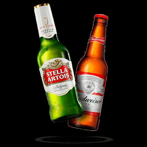 Cerveja Budweiser ou Stella Artois Long Neck - Brasileirão Atacado